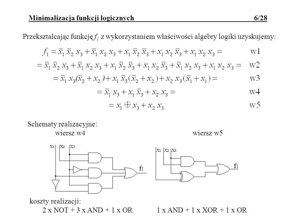Przekształcając funkcję f 1 z wykorzystaniem właściwości algebry logiki uzyskujemy: Minimalizacja funkcji logicznych 6/28 Schematy realizacyjne: wiers