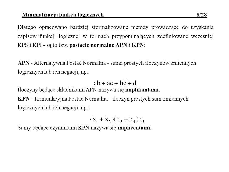 Dlatego opracowano bardziej sformalizowane metody prowadzące do uzyskania zapisów funkcji logicznej w formach przypominających zdefiniowane wcześniej