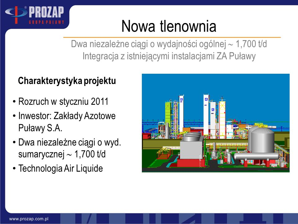 Nowa tlenownia Dwa niezależne ciągi o wydajności ogólnej 1,700 t/d Integracja z istniejącymi instalacjami ZA Puławy Charakterystyka projektu Rozruch w