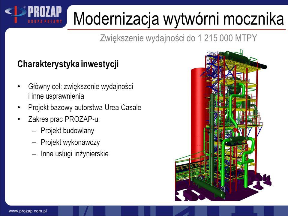 Główny cel: zwiększenie wydajności i inne usprawnienia Projekt bazowy autorstwa Urea Casale Zakres prac PROZAP-u: – Projekt budowlany – Projekt wykona