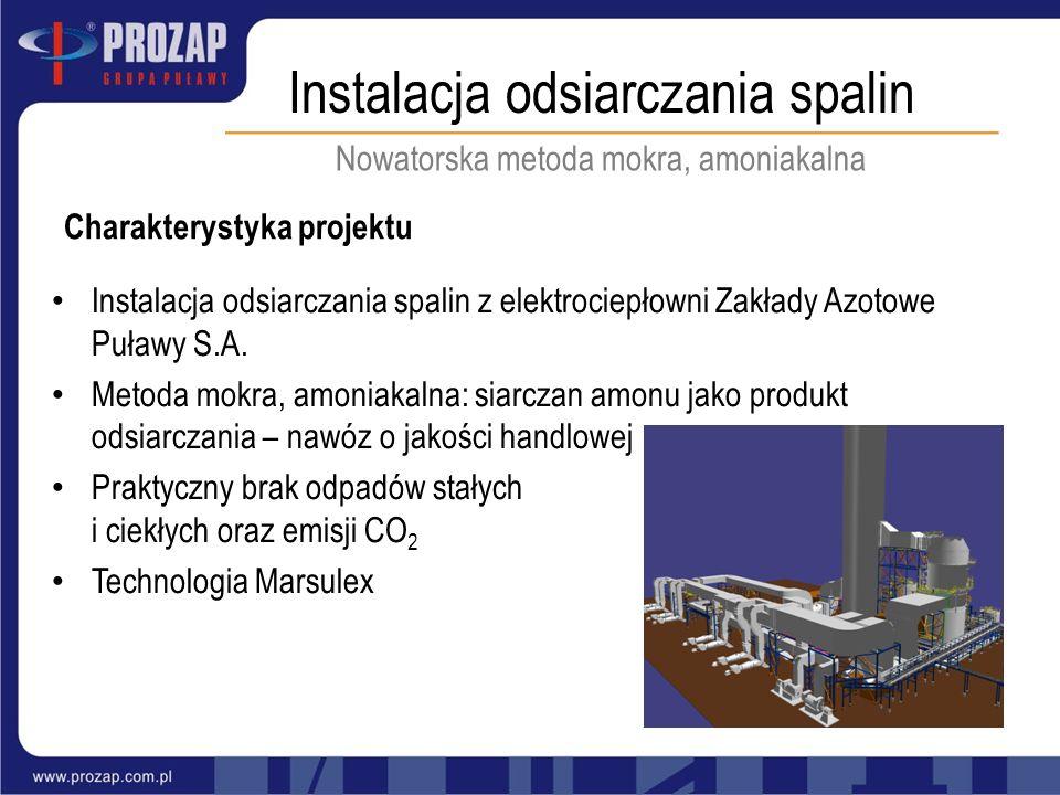 Instalacja odsiarczania spalin Nowatorska metoda mokra, amoniakalna Charakterystyka projektu Instalacja odsiarczania spalin z elektrociepłowni Zakłady