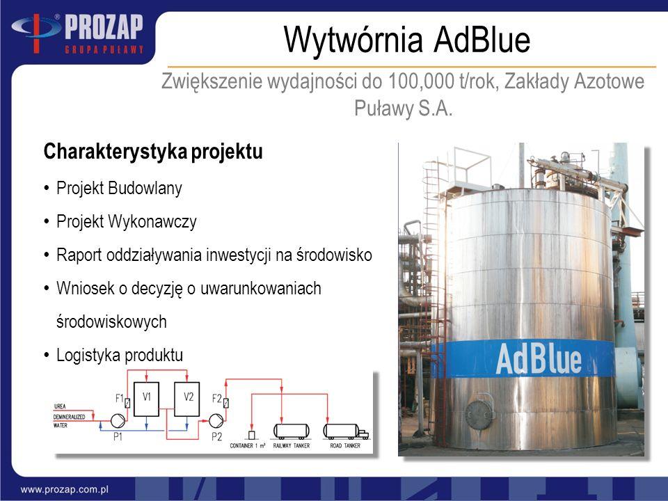 Wytwórnia AdBlue Zwiększenie wydajności do 100,000 t/rok, Zakłady Azotowe Puławy S.A. Charakterystyka projektu Projekt Budowlany Projekt Wykonawczy Ra
