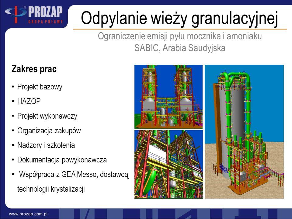Odpylanie wieży granulacyjnej Zakres prac Projekt bazowy HAZOP Projekt wykonawczy Organizacja zakupów Nadzory i szkolenia Dokumentacja powykonawcza Ws