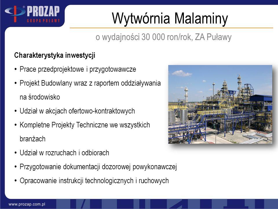 Wytwórnia Malaminy o wydajności 30 000 ron/rok, ZA Puławy Charakterystyka inwestycji Prace przedprojektowe i przygotowawcze Projekt Budowlany wraz z r