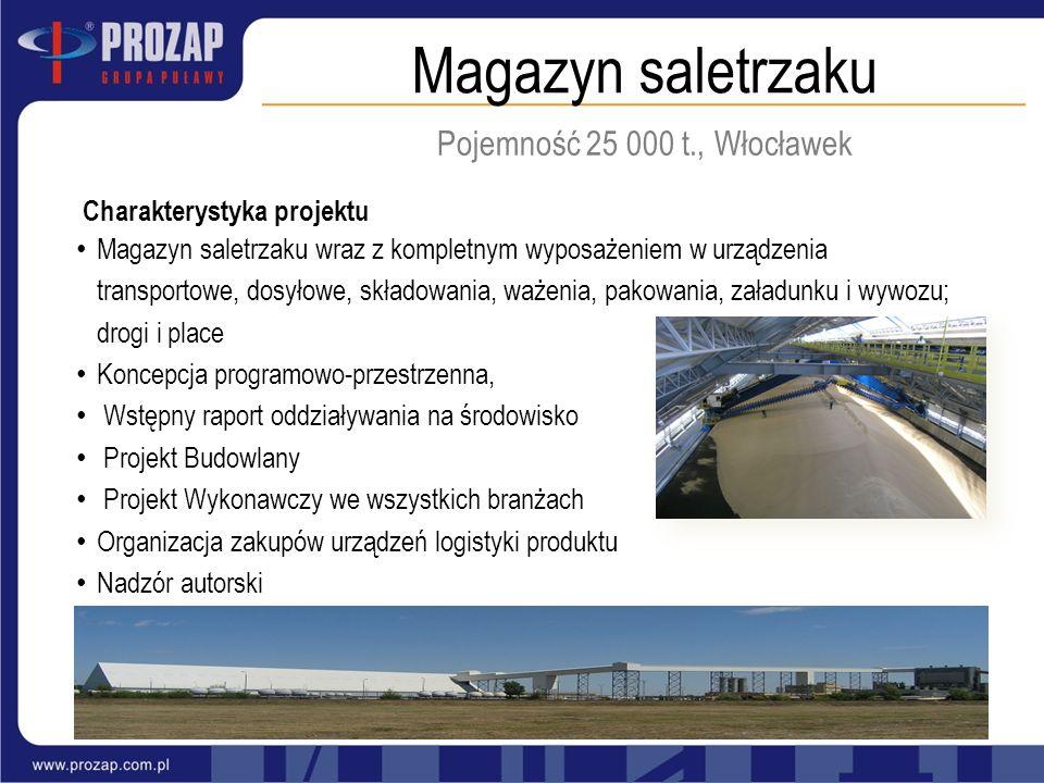 Magazyn saletrzaku Pojemność 25 000 t., Włocławek Charakterystyka projektu Magazyn saletrzaku wraz z kompletnym wyposażeniem w urządzenia transportowe