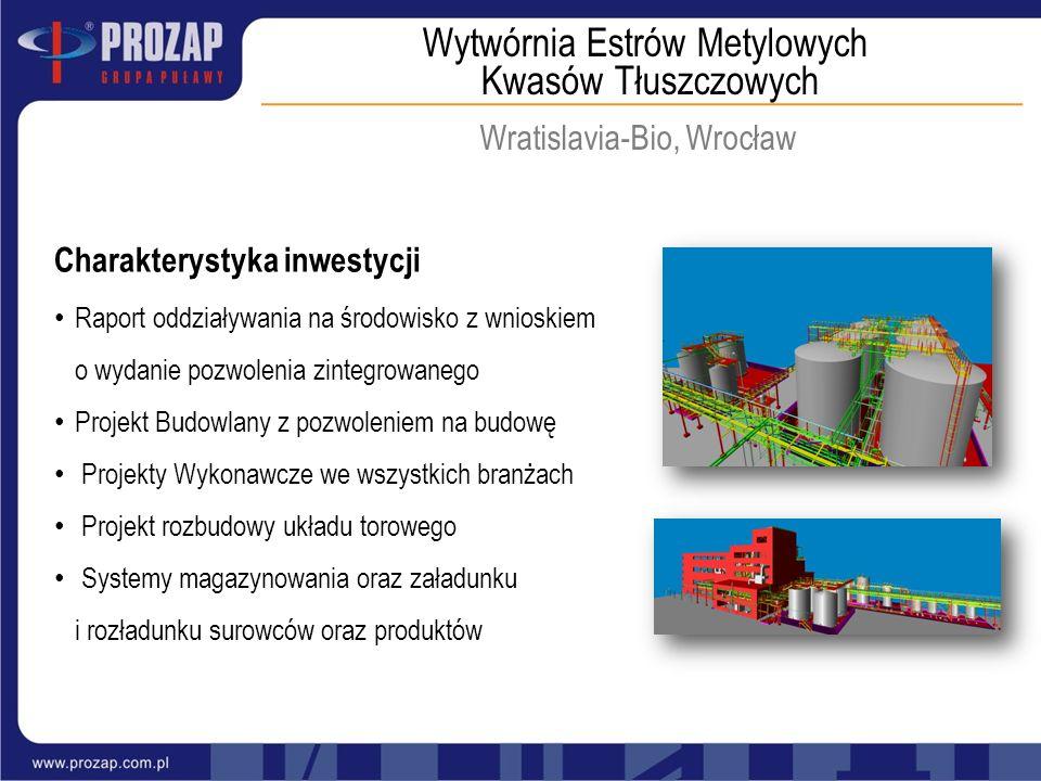 Wytwórnia Estrów Metylowych Kwasów Tłuszczowych Wratislavia-Bio, Wrocław Charakterystyka inwestycji Raport oddziaływania na środowisko z wnioskiem o w
