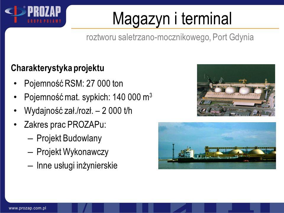 Magazyn i terminal roztworu saletrzano-mocznikowego, Port Gdynia Charakterystyka projektu Pojemność RSM: 27 000 ton Pojemność mat. sypkich: 140 000 m
