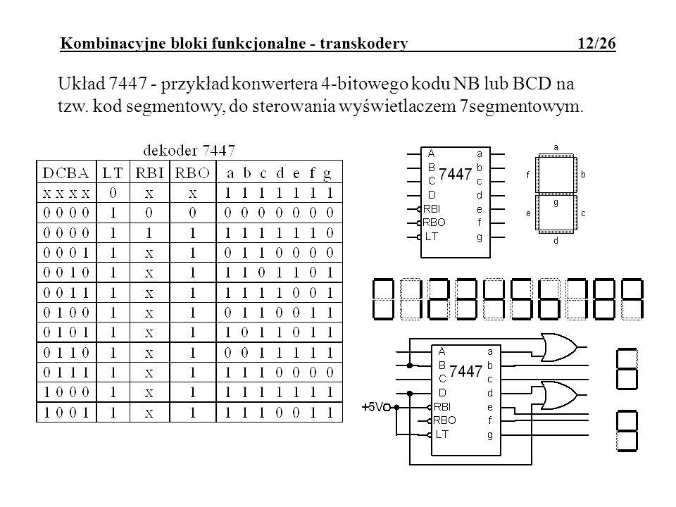 Kombinacyjne bloki funkcjonalne - transkodery 12/26 Układ 7447 - przykład konwertera 4-bitowego kodu NB lub BCD na tzw.