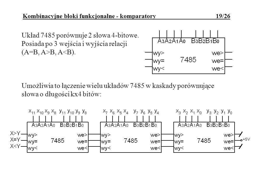 Kombinacyjne bloki funkcjonalne - komparatory 19/26 Układ 7485 porównuje 2 słowa 4-bitowe.
