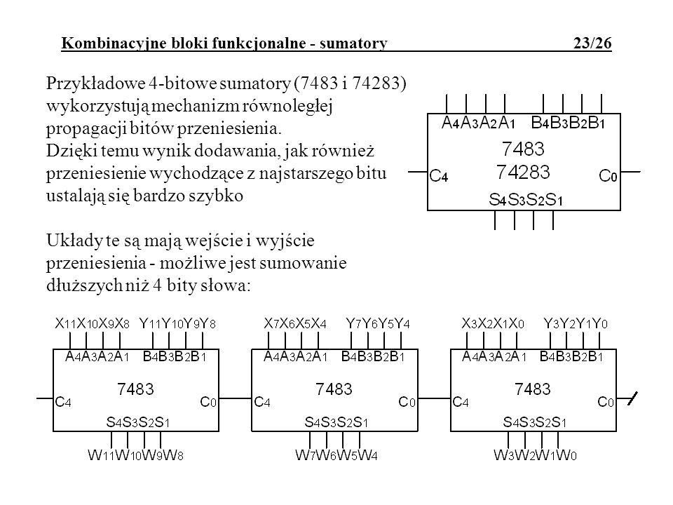 Kombinacyjne bloki funkcjonalne - sumatory 23/26 Przykładowe 4-bitowe sumatory (7483 i 74283) wykorzystują mechanizm równoległej propagacji bitów przeniesienia.
