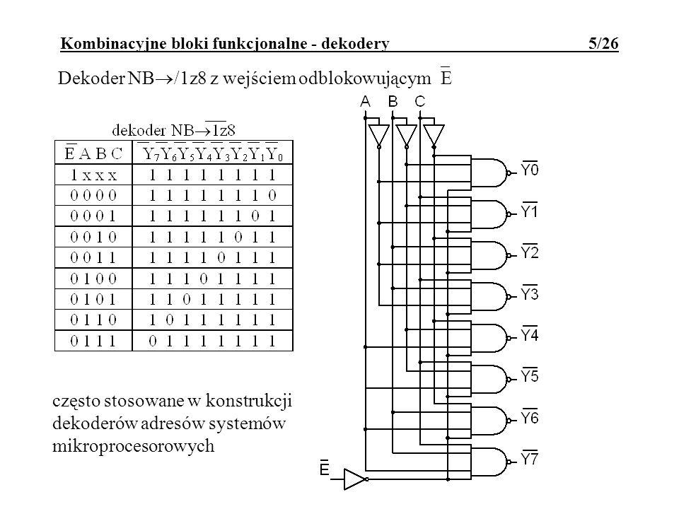 Kombinacyjne bloki funkcjonalne - dekodery 5/26 Dekoder NB /1z8 z wejściem odblokowującym E często stosowane w konstrukcji dekoderów adresów systemów mikroprocesorowych