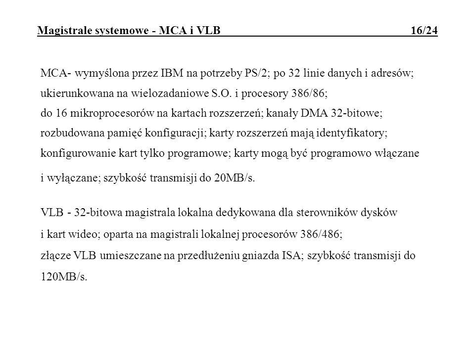 Magistrale systemowe - MCA i VLB 16/24 MCA- wymyślona przez IBM na potrzeby PS/2; po 32 linie danych i adresów; ukierunkowana na wielozadaniowe S.O. i