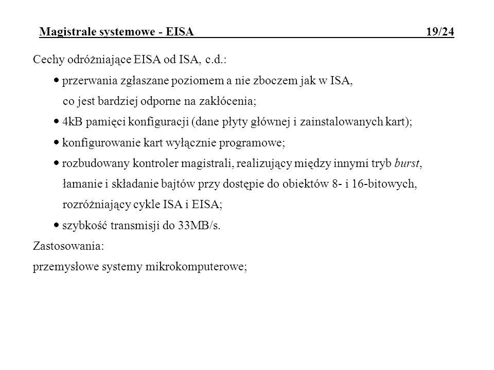 Magistrale systemowe - EISA 19/24 Cechy odróżniające EISA od ISA, c.d.: przerwania zgłaszane poziomem a nie zboczem jak w ISA, co jest bardziej odporn