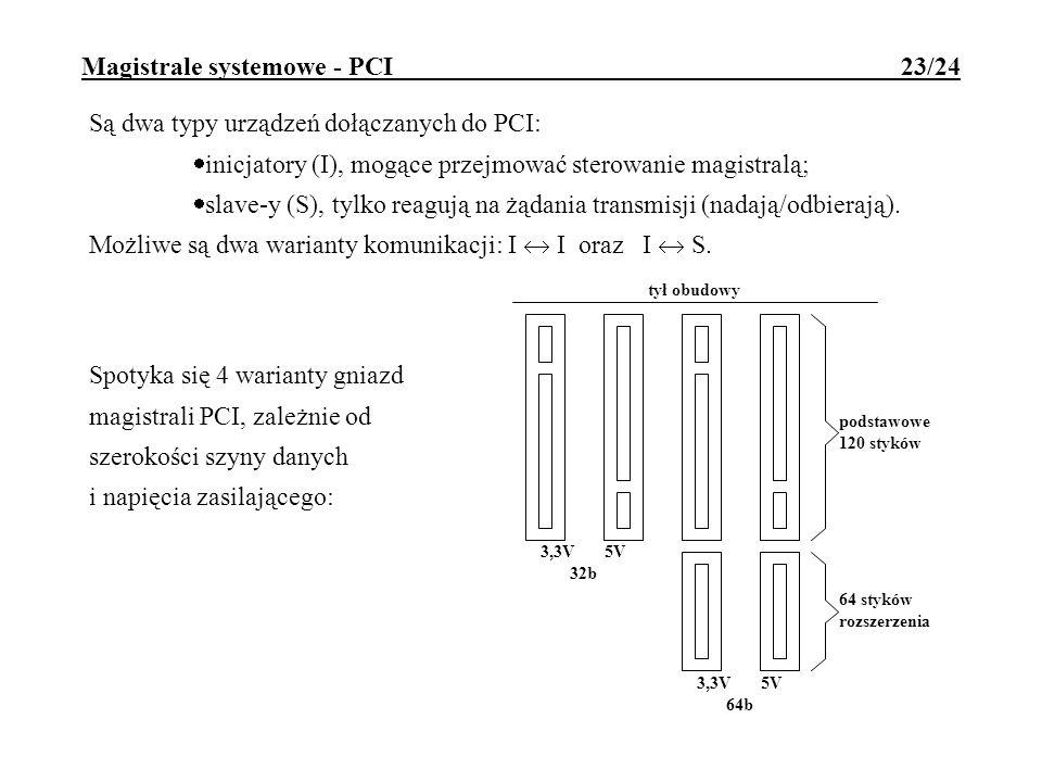 Magistrale systemowe - PCI 23/24 Są dwa typy urządzeń dołączanych do PCI: inicjatory (I), mogące przejmować sterowanie magistralą; slave-y (S), tylko