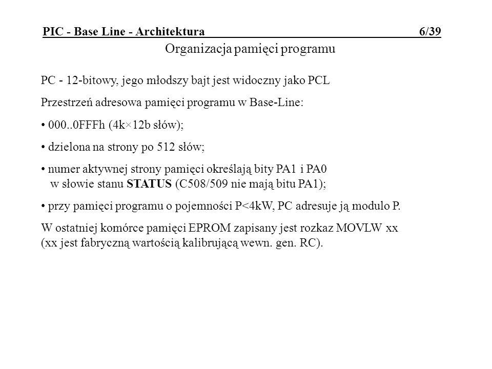 PIC - Base Line - Architektura 6/39 PC - 12-bitowy, jego młodszy bajt jest widoczny jako PCL Przestrzeń adresowa pamięci programu w Base-Line: 000..0F