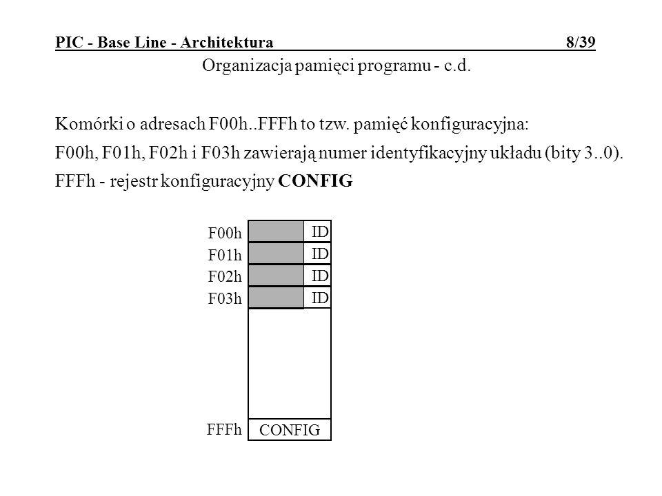 PIC - Base Line - Architektura 8/39 Komórki o adresach F00h..FFFh to tzw. pamięć konfiguracyjna: F00h, F01h, F02h i F03h zawierają numer identyfikacyj