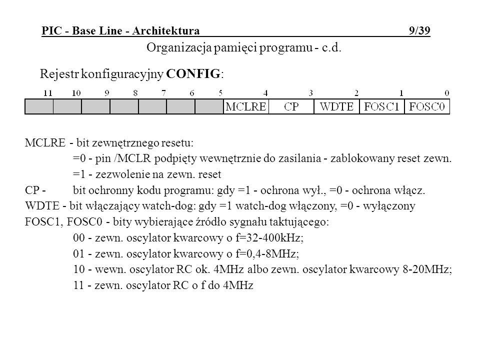 PIC - Base Line - Architektura 9/39 Rejestr konfiguracyjny CONFIG: Organizacja pamięci programu - c.d. MCLRE - bit zewnętrznego resetu: =0 - pin /MCLR