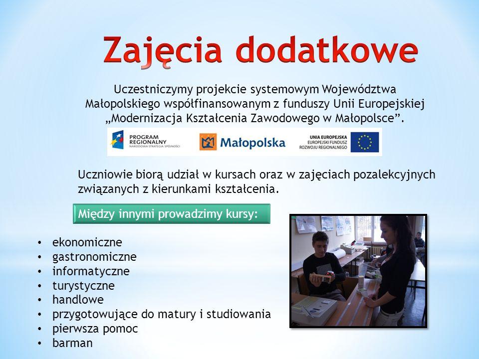 Uczestniczymy projekcie systemowym Województwa Małopolskiego współfinansowanym z funduszy Unii Europejskiej Modernizacja Kształcenia Zawodowego w Małopolsce.
