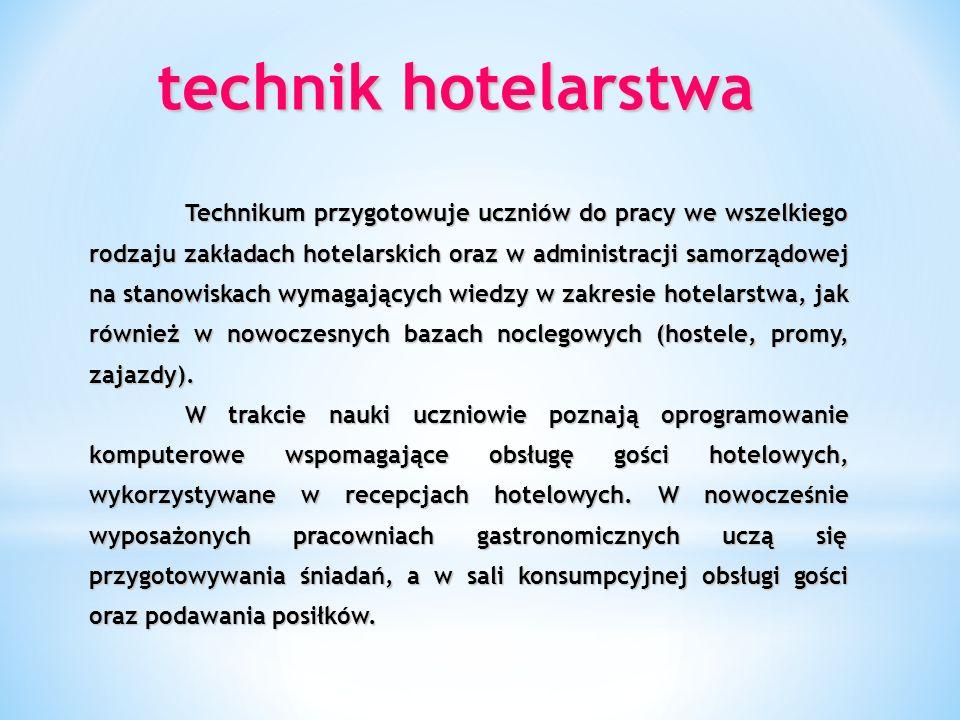 technik obsługi turystycznej przedmioty rozszerzone: język angielski i geografia kwalifikacje: 1.