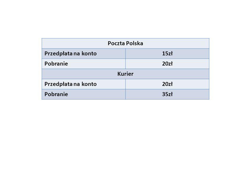 Poczta Polska Przedpłata na konto15zł Pobranie20zł Kurier Przedpłata na konto20zł Pobranie35zł