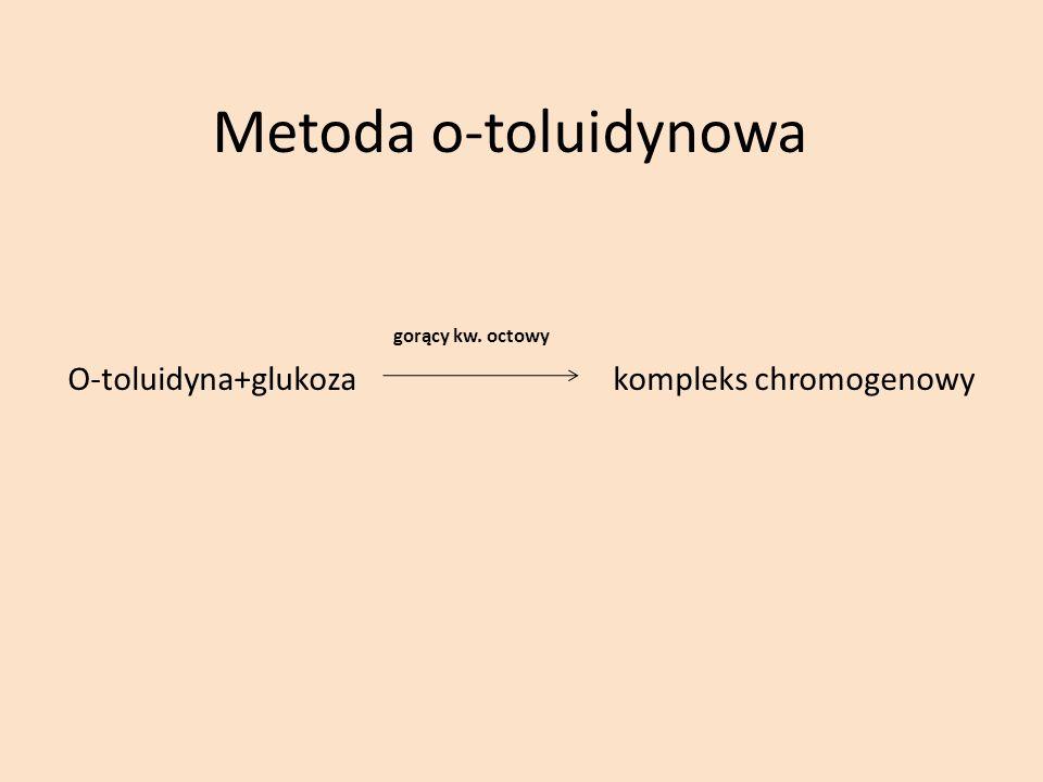 Metoda o-toluidynowa gorący kw. octowy O-toluidyna+glukoza kompleks chromogenowy