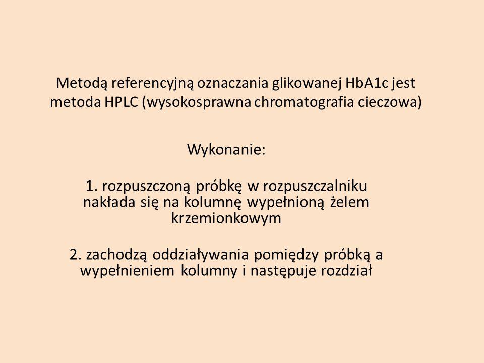 Metodą referencyjną oznaczania glikowanej HbA1c jest metoda HPLC (wysokosprawna chromatografia cieczowa) Wykonanie: 1. rozpuszczoną próbkę w rozpuszcz