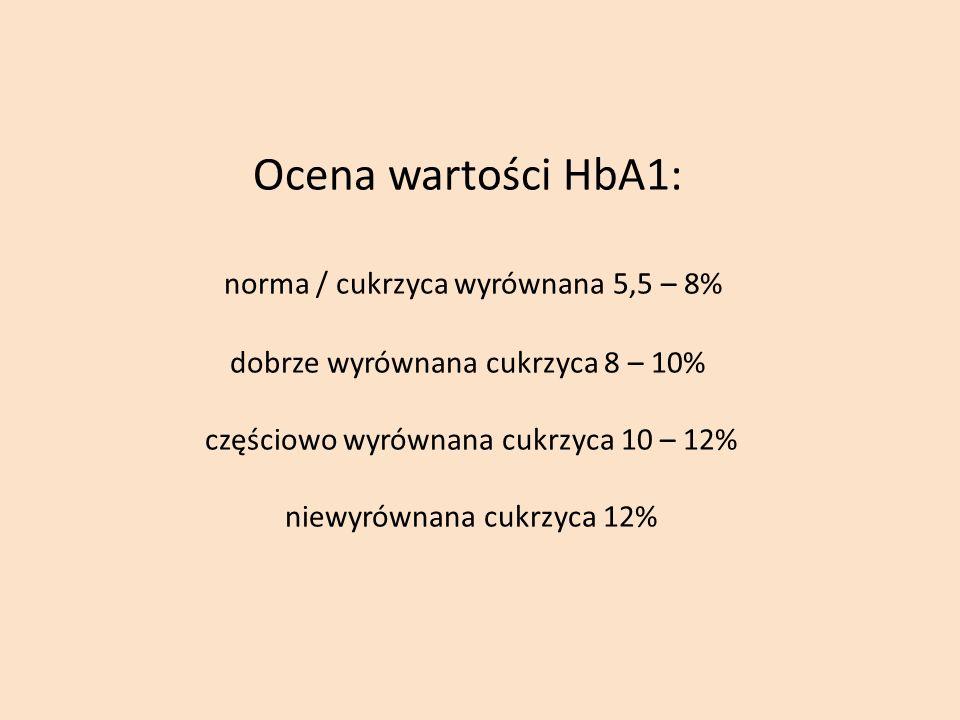 Ocena wartości HbA1: norma / cukrzyca wyrównana 5,5 – 8% dobrze wyrównana cukrzyca 8 – 10% częściowo wyrównana cukrzyca 10 – 12% niewyrównana cukrzyca