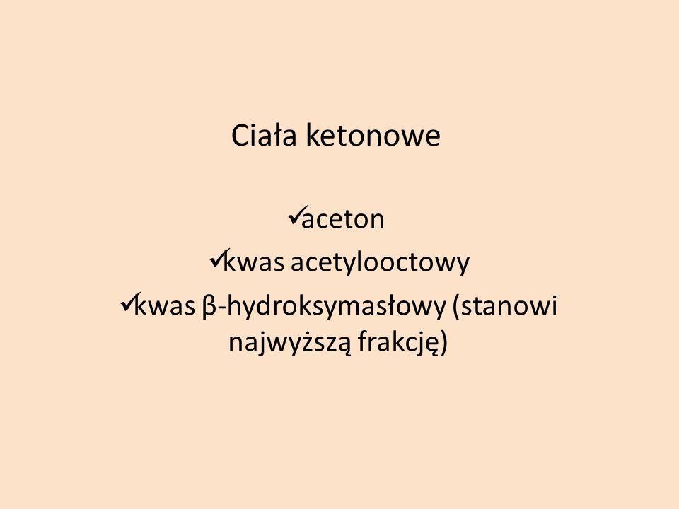 Ciała ketonowe aceton kwas acetylooctowy kwas β-hydroksymasłowy (stanowi najwyższą frakcję)