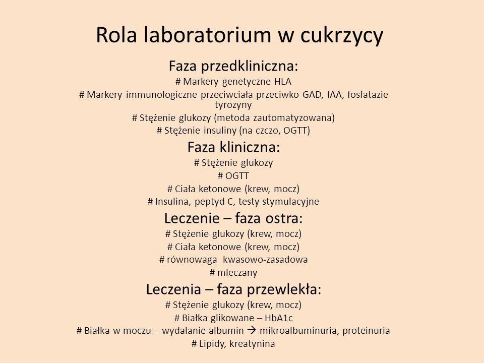 Rola laboratorium w cukrzycy Faza przedkliniczna: # Markery genetyczne HLA # Markery immunologiczne przeciwciała przeciwko GAD, IAA, fosfatazie tyrozy