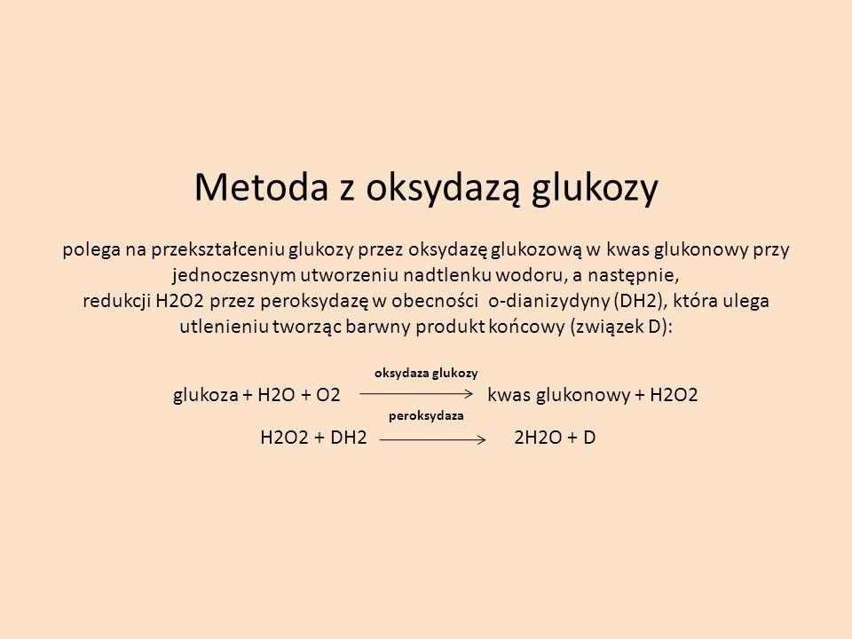 Metoda z oksydazą glukozy polega na przekształceniu glukozy przez oksydazę glukozową w kwas glukonowy przy jednoczesnym utworzeniu nadtlenku wodoru, a