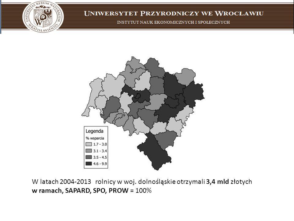 W latach 2004-2013 rolnicy w woj. dolnośląskie otrzymali 3,4 mld złotych w ramach, SAPARD, SPO, PROW = 100%