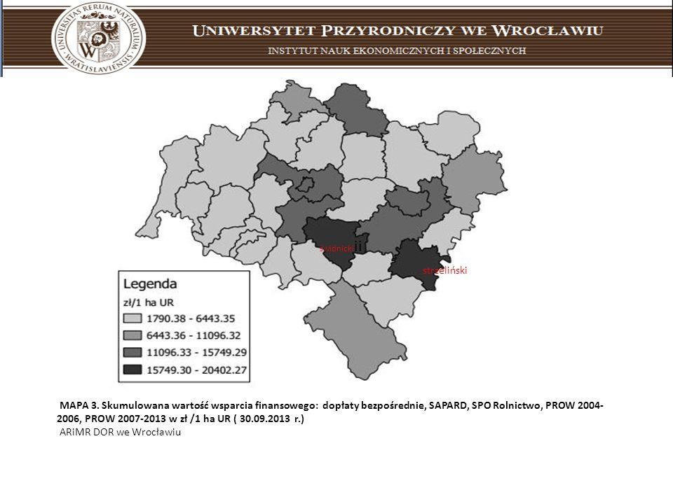 MAPA 3. Skumulowana wartość wsparcia finansowego: dopłaty bezpośrednie, SAPARD, SPO Rolnictwo, PROW 2004- 2006, PROW 2007-2013 w zł /1 ha UR ( 30.09.2