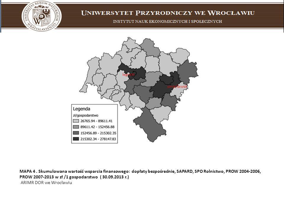 MAPA 4. Skumulowana wartość wsparcia finansowego: dopłaty bezpośrednie, SAPARD, SPO Rolnictwo, PROW 2004-2006, PROW 2007-2013 w zł /1 gospodarstwo ( 3