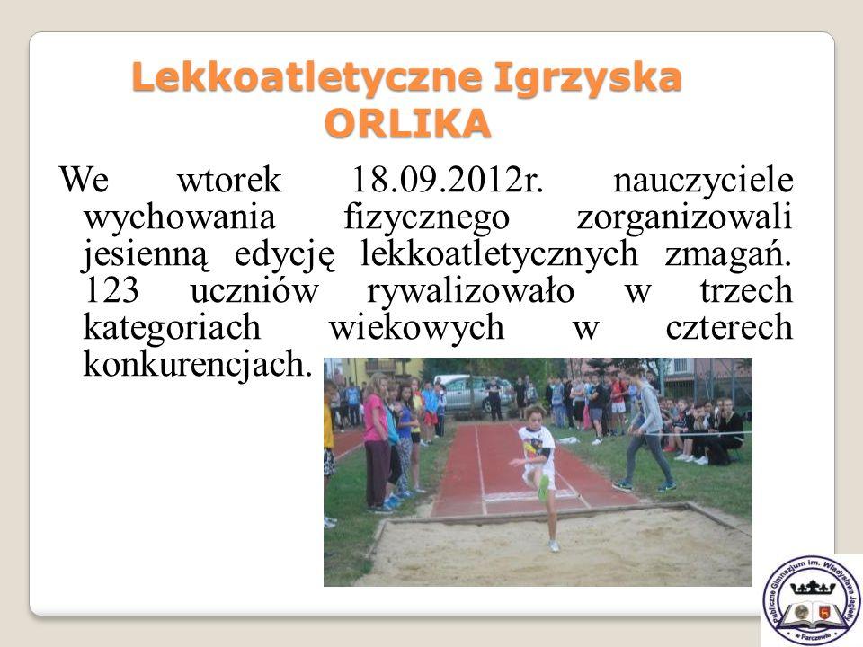 We wtorek 18.09.2012r. nauczyciele wychowania fizycznego zorganizowali jesienną edycję lekkoatletycznych zmagań. 123 uczniów rywalizowało w trzech kat