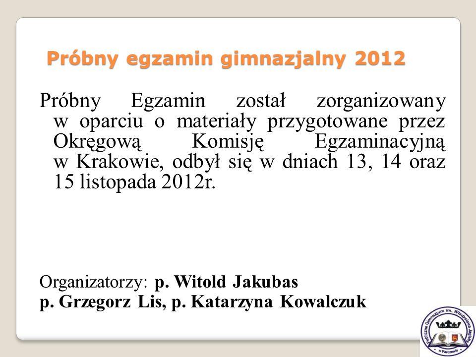 Próbny Egzamin został zorganizowany w oparciu o materiały przygotowane przez Okręgową Komisję Egzaminacyjną w Krakowie, odbył się w dniach 13, 14 oraz