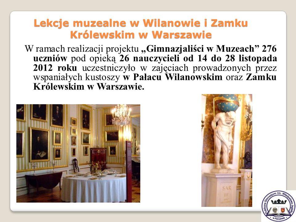W ramach realizacji projektu Gimnazjaliści w Muzeach 276 uczniów pod opieką 26 nauczycieli od 14 do 28 listopada 2012 roku uczestniczyło w zajęciach p