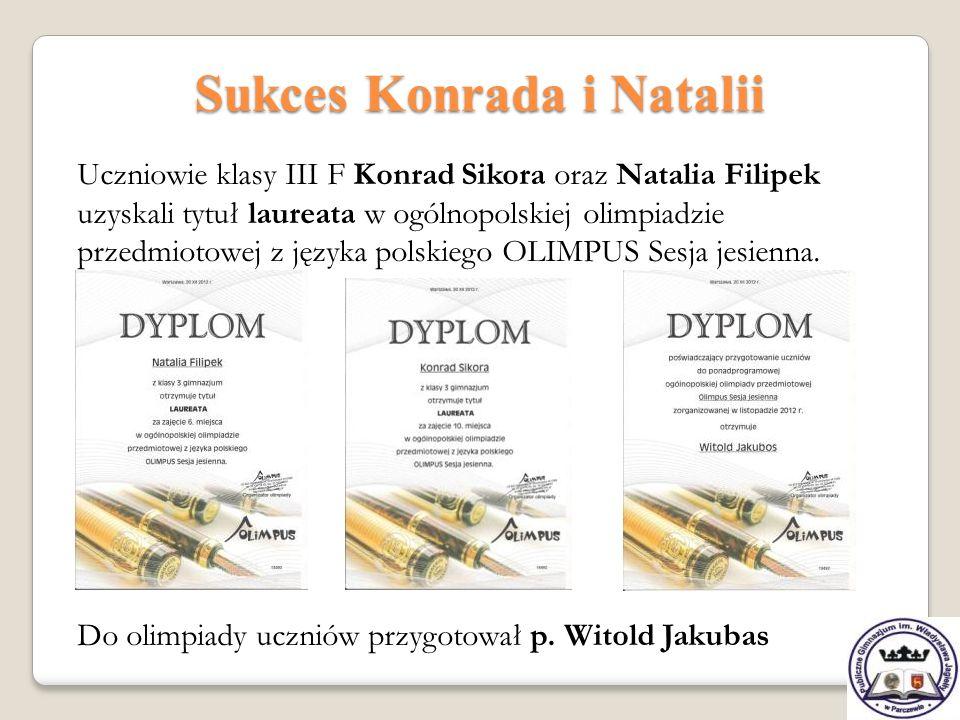 Sukces Konrada i Natalii Uczniowie klasy III F Konrad Sikora oraz Natalia Filipek uzyskali tytuł laureata w ogólnopolskiej olimpiadzie przedmiotowej z