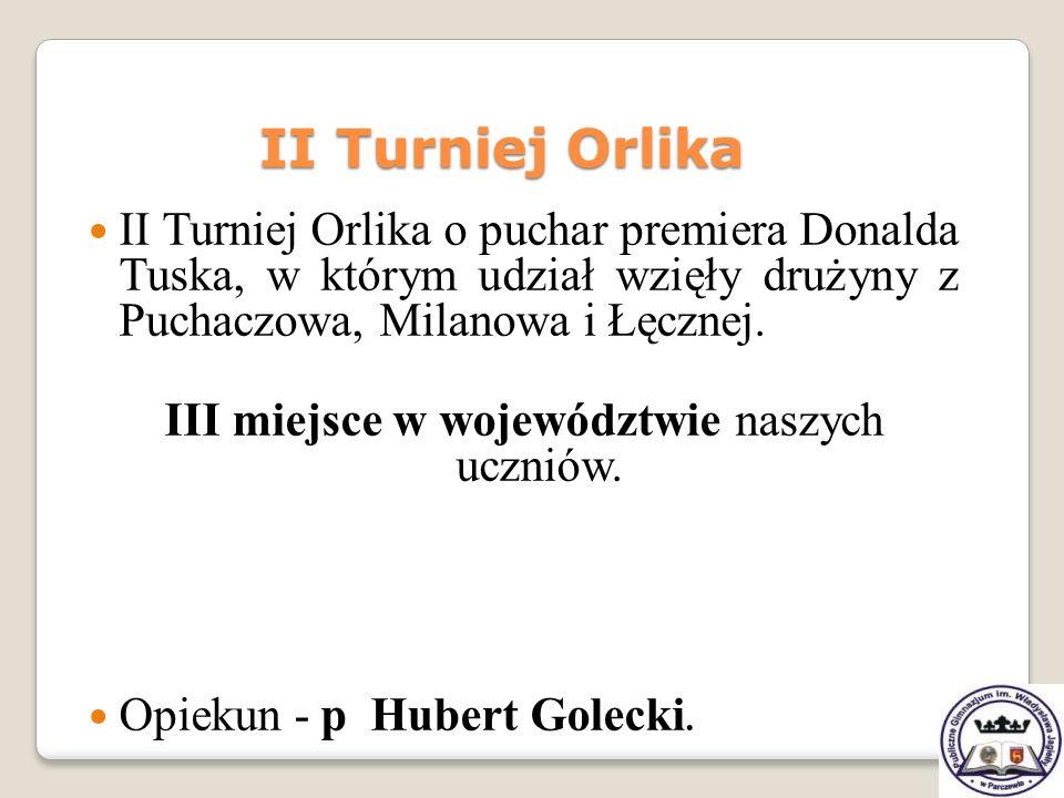 II Turniej Orlika o puchar premiera Donalda Tuska, w którym udział wzięły drużyny z Puchaczowa, Milanowa i Łęcznej. III miejsce w województwie naszych