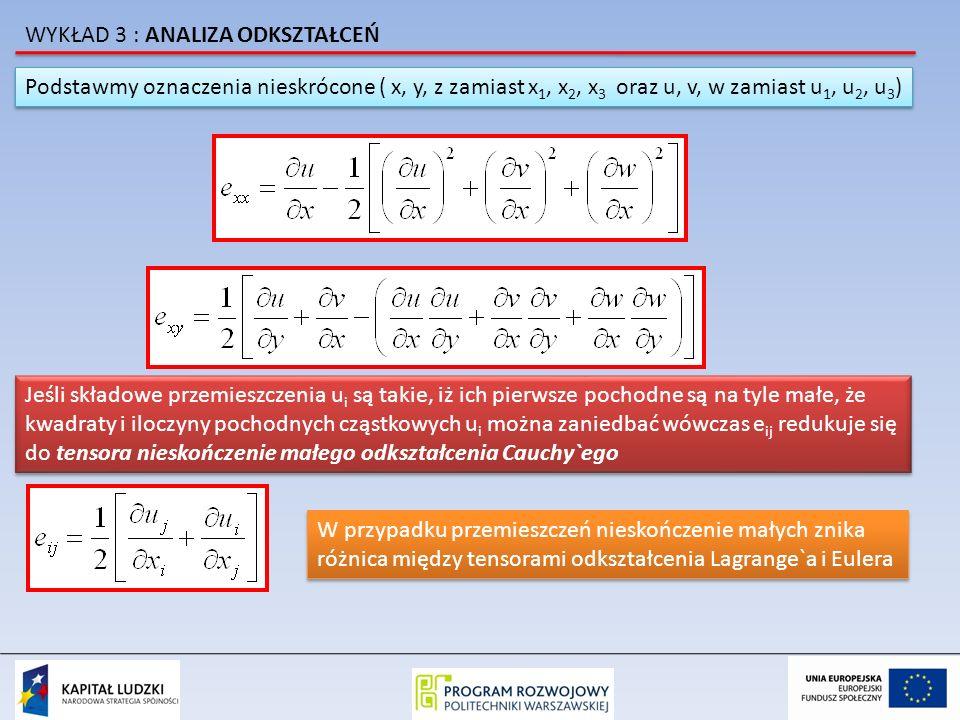 Podstawmy oznaczenia nieskrócone ( x, y, z zamiast x 1, x 2, x 3 oraz u, v, w zamiast u 1, u 2, u 3 ) Jeśli składowe przemieszczenia u i są takie, iż