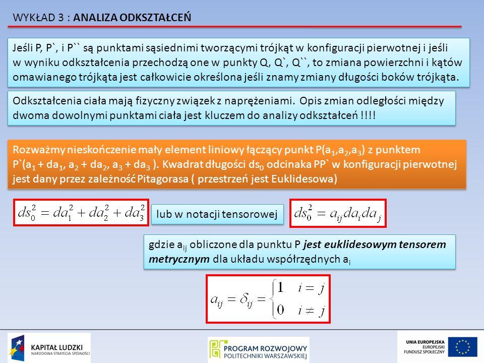 Jeśli P, P`, i P`` są punktami sąsiednimi tworzącymi trójkąt w konfiguracji pierwotnej i jeśli w wyniku odkształcenia przechodzą one w punkty Q, Q`, Q``, to zmiana powierzchni i kątów omawianego trójkąta jest całkowicie określona jeśli znamy zmiany długości boków trójkąta.