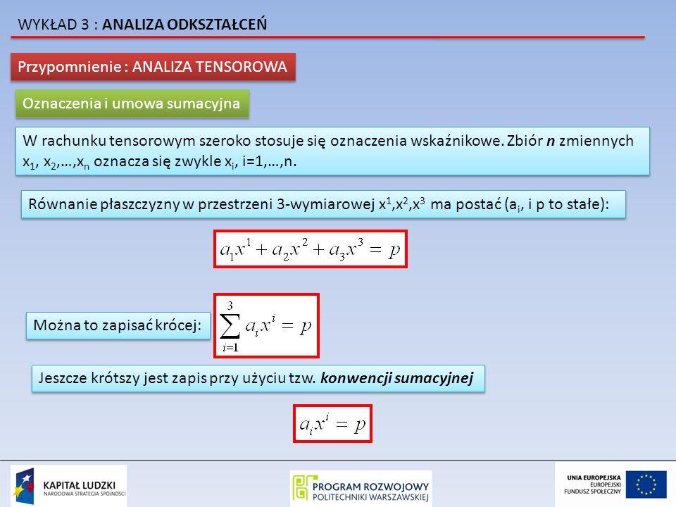 Przypomnienie : ANALIZA TENSOROWA Oznaczenia i umowa sumacyjna W rachunku tensorowym szeroko stosuje się oznaczenia wskaźnikowe. Zbiór n zmiennych x 1