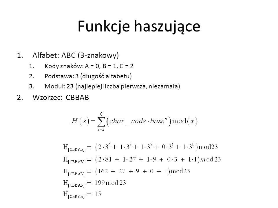 Funkcje haszujące 1.Alfabet: ABC (3-znakowy) 1.Kody znaków: A = 0, B = 1, C = 2 2.Podstawa: 3 (długość alfabetu) 3.Moduł: 23 (najlepiej liczba pierwsz
