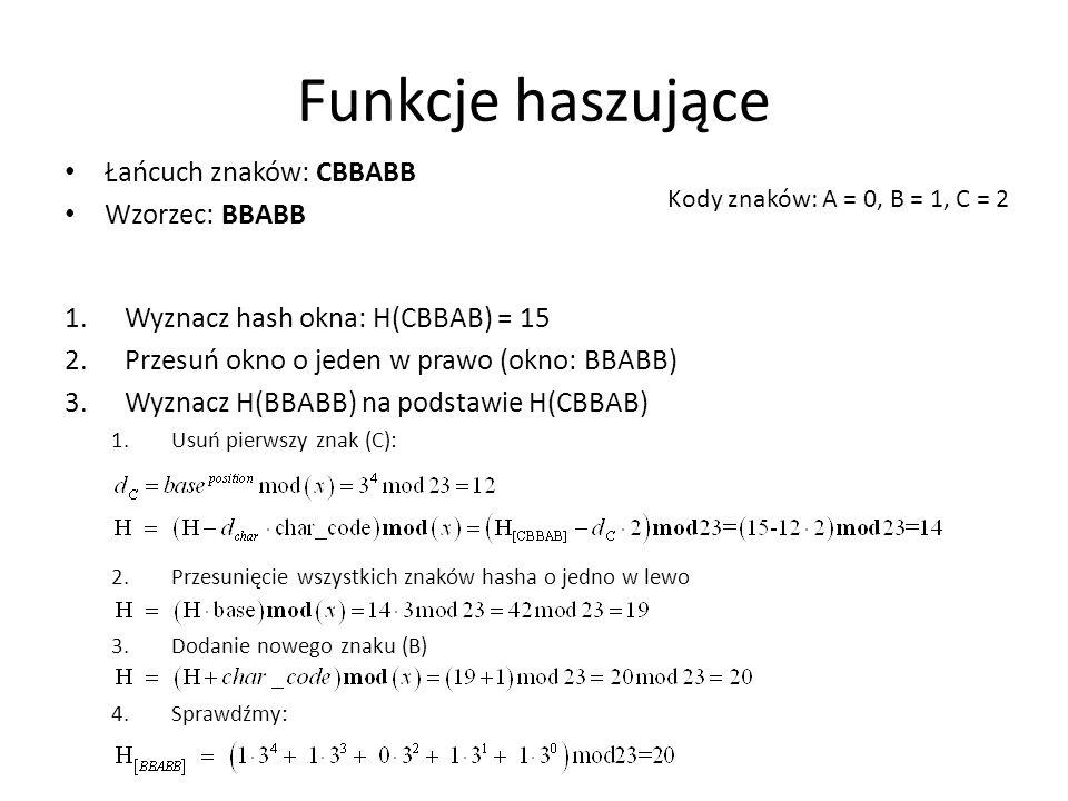 Funkcje haszujące Łańcuch znaków: CBBABB Wzorzec: BBABB 1.Wyznacz hash okna: H(CBBAB) = 15 2.Przesuń okno o jeden w prawo (okno: BBABB) 3.Wyznacz H(BB