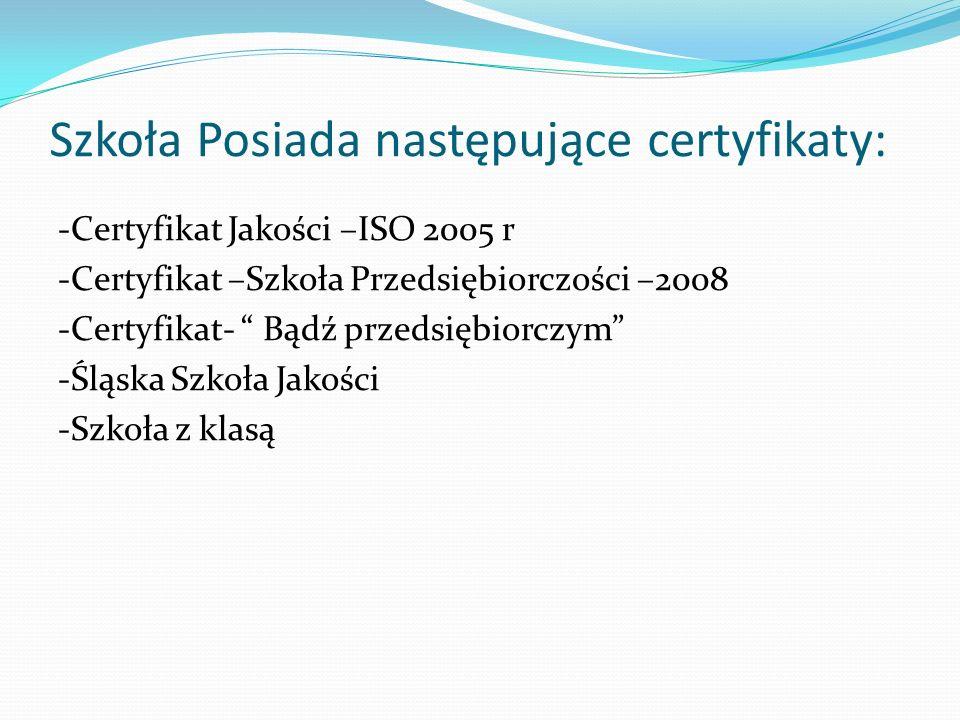 Szkoła Posiada następujące certyfikaty: -Certyfikat Jakości –ISO 2005 r -Certyfikat –Szkoła Przedsiębiorczości –2008 -Certyfikat- Bądź przedsiębiorczy