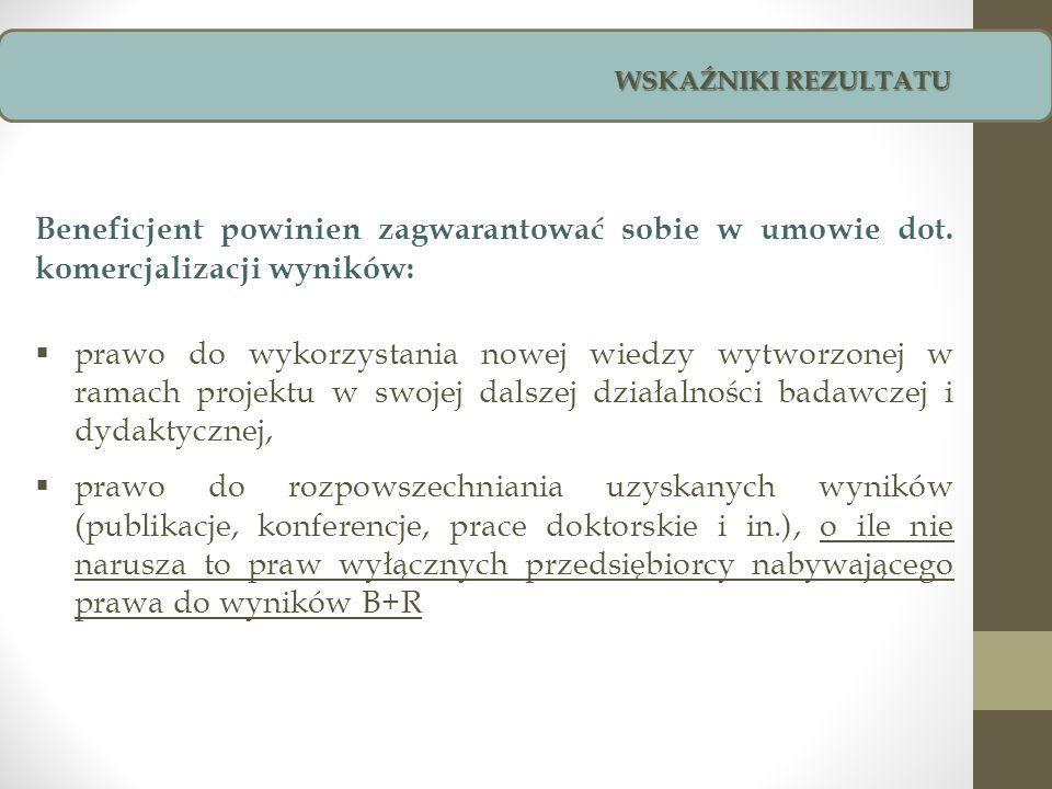 Beneficjent powinien zagwarantować sobie w umowie dot. komercjalizacji wyników: prawo do wykorzystania nowej wiedzy wytworzonej w ramach projektu w sw