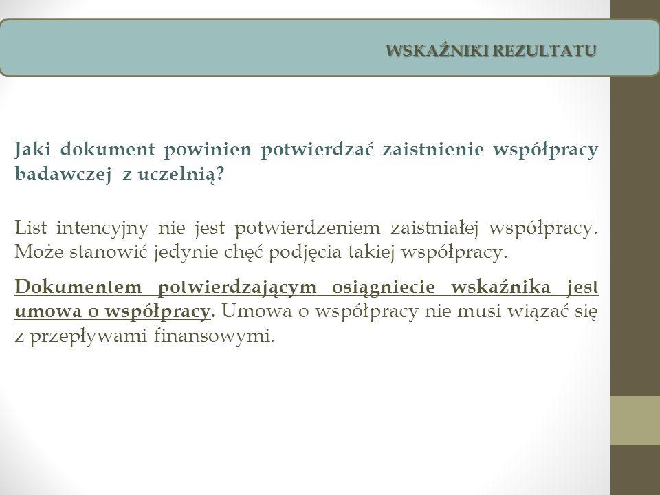 Jaki dokument powinien potwierdzać zaistnienie współpracy badawczej z uczelnią? List intencyjny nie jest potwierdzeniem zaistniałej współpracy. Może s