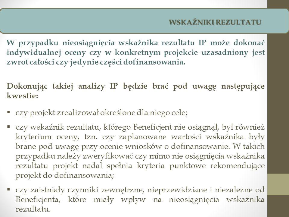 W przypadku nieosiągnięcia wskaźnika rezultatu IP może dokonać indywidualnej oceny czy w konkretnym projekcie uzasadniony jest zwrot całości czy jedyn