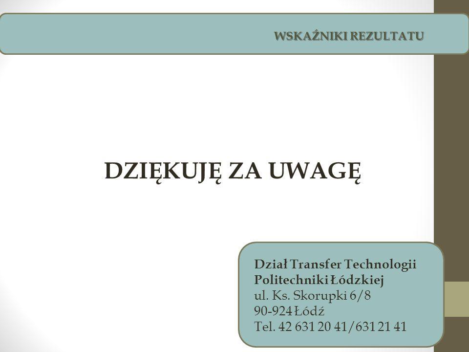WSKAŹNIKI REZULTATU Dział Transfer Technologii Politechniki Łódzkiej ul. Ks. Skorupki 6/8 90-924 Łódź Tel. 42 631 20 41/631 21 41 DZIĘKUJĘ ZA UWAGĘ