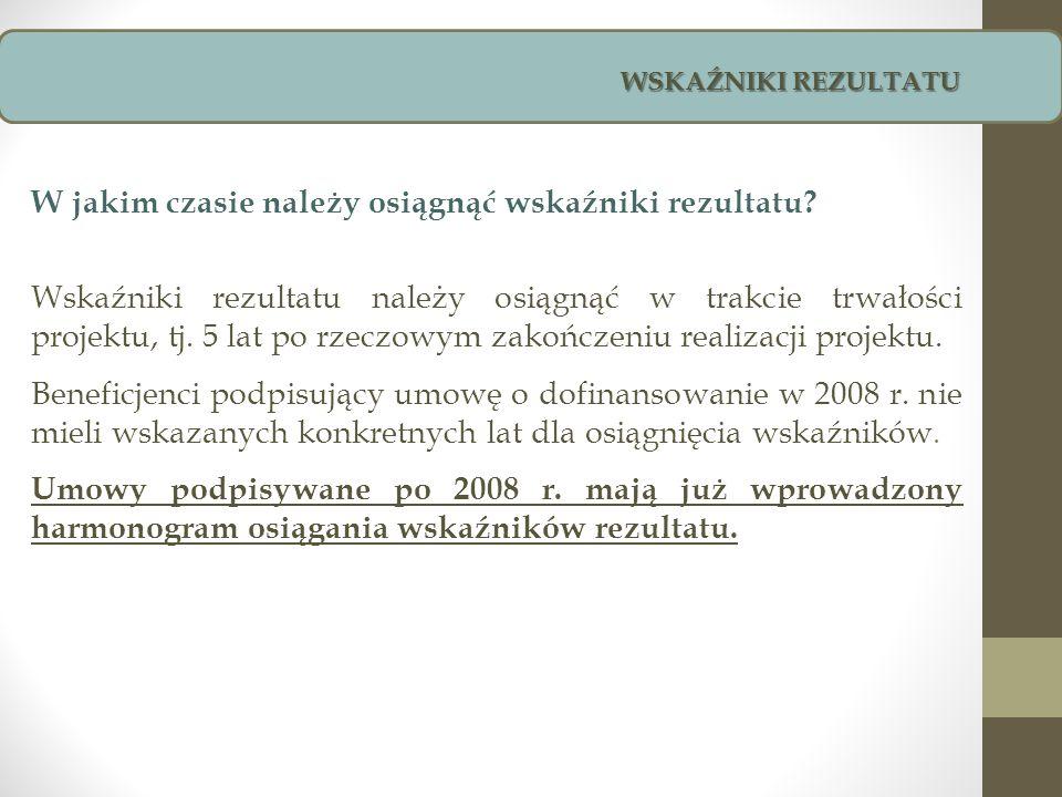 WSKAŹNIKI REZULTATU - OBLIGATORYJNE Wskaźnik rezultatu Jedn.