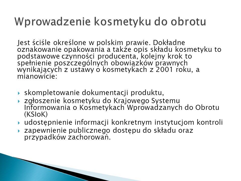Jest ściśle określone w polskim prawie. Dokładne oznakowanie opakowania a także opis składu kosmetyku to podstawowe czynności producenta, kolejny krok